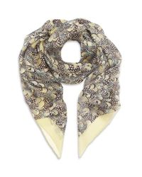 Valentino | Natural Feather Print Oblong Silk Scarf | Lyst