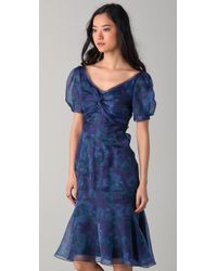 Zac Posen - Blue Short Sleeve Floral Dress - Lyst