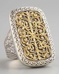 Konstantino Metallic Rectangle Filigree Ring