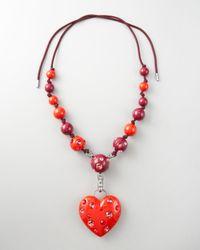 Lanvin - Red Heart Pendant Necklace, 50l - Lyst