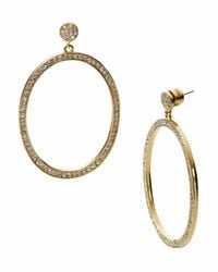 Michael Kors | Metallic Golden Front-facing Hoop Earring with Pave Detail | Lyst