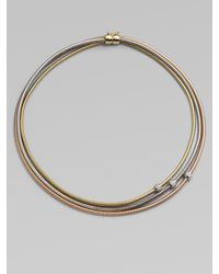 Roberto Coin | Metallic Diamond Accented 18k Gold Tri-tone Multi-row Snake Chain Necklace | Lyst