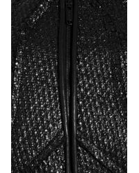 Zac Posen Black Coated Wool-blend and Leather Dress
