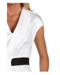Love Moschino | White Cap Sleeve Dress with Ruffles | Lyst