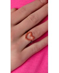 Marc By Marc Jacobs Pink Annabelle Sparkle Pave Heart Ring