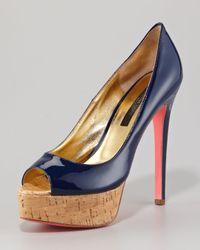 Ruthie Davis - Blue Patent Leather Cork-platform Pump - Lyst
