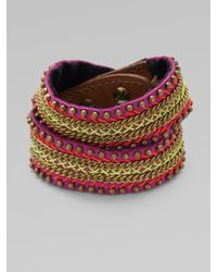 Fiona Paxton | Purple Leather Chain and Bead Wrap Bracelet | Lyst