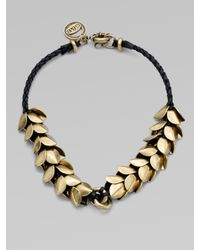 Giles & Brother | Natural Leather Accented Wheat Petal Necklace | Lyst