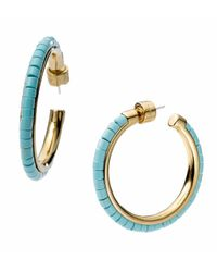 Michael Kors - Blue Golden Hoop Earring with Turquoise Bead Detail - Lyst