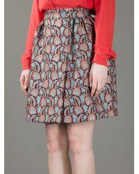 Rochas Blue Printed Puff-ball Skirt