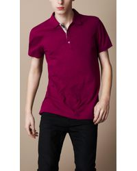 Burberry Brit Purple Check Detail Polo Shirt for men