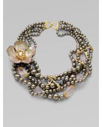 Alexis Bittar | Metallic Swarovski Crystal Lucite Accented Multirow Bead Necklace | Lyst