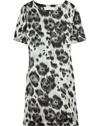 Stella McCartney | Black Cat Print Crepe Dress | Lyst