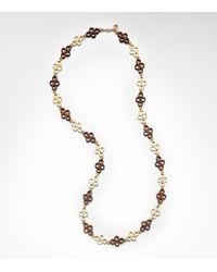 Tory Burch Brown Clover Link Necklace