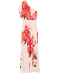Alice + Olivia Red Robin Floral-printed Silk Crepe De Chine Maxi Dress