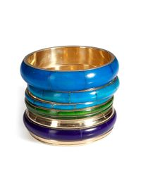 Antik Batik | Blue Aqua/gold Bracelet Set | Lyst