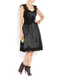 Moschino - Black Lace-trimmed Satin Dress - Lyst