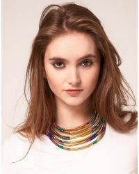 ASOS - Multicolor Multi Row Thread Wrapped And Tube Necklace - Lyst