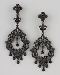 Jose & Maria Barrera Black Chandelier Earrings