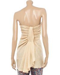 Alberta Ferretti Natural Draped Linen Bustier Top