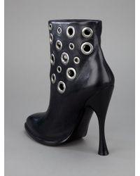 Alexander McQueen Black Eyelet Boot