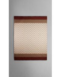Burberry Natural Herrringbone Cashmere Silk Scarf