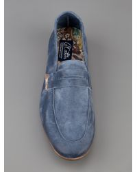 Lecrown Blue Suede Loafers for men