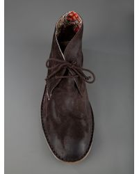 Lecrown Brown Leather Desert Boot for men