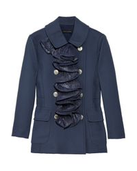 Marc Jacobs Blue Ruffle-trimmed Twill Jacket