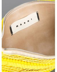 Marni Yellow Paillette Embellished Clutch