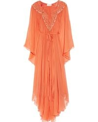 Temperley London | Orange Long Amberley Embellished Crepe Kaftan | Lyst