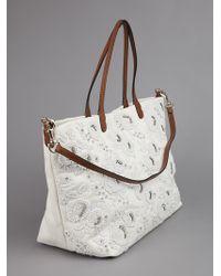 Valentino White Pearl Embellished Bag