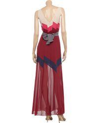BCBGMAXAZRIA Red Runway Bon Voyage Long Color-blocked Chiffon Dress