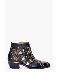 Chloé | Black Studded Booties | Lyst