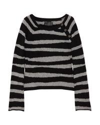Zadig & Voltaire Black Reglis Striped Cashmere Sweater