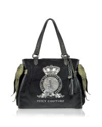 Juicy Couture Black Pretty Day Velour Ms Daydreamer Bag