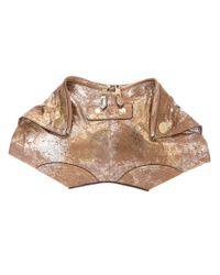 Alexander McQueen Demanta Metallic Clutch
