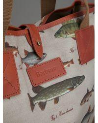 Barbour Green Fish Print Shopper