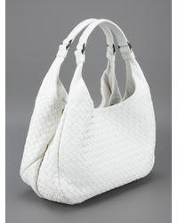 Bottega Veneta White Woven Tote Bag