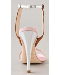 Jenni Kayne | Silver Suede Ankle Strap Sandals | Lyst