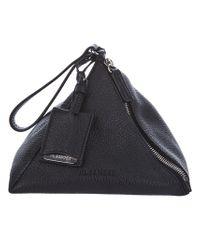 Jil Sander Black Leather Pyramid Clutch
