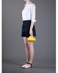Jil Sander Yellow Leather Pyramid Clutch
