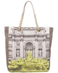 Boutique Moschino Natural Printed Tote Bag