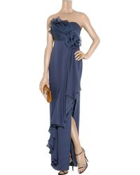 Notte by Marchesa Blue Strapless Crepe & Organza Gown
