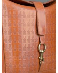 Peter Jensen Brown Embossed Leather Coach Bag