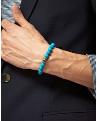Simon Carter Blue Beaded Skull Bracelet for men