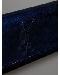 Saint Laurent Blue Patent Leather Clutch