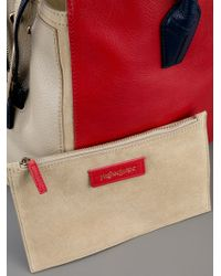 Saint Laurent Red Muse Two Cabas Tote