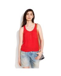Madewell Red Henley Waffle Tank