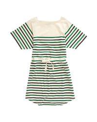 Madewell Green Striped Drawstring Tee Dress